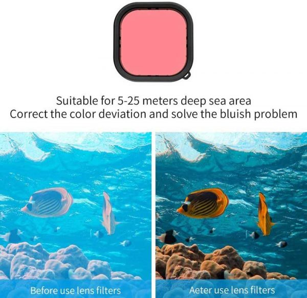 Gopro Hero 9 Black Underwater Diving Lens Filter Set 3pcs Set Waterproof Diving Housing Case   g091
